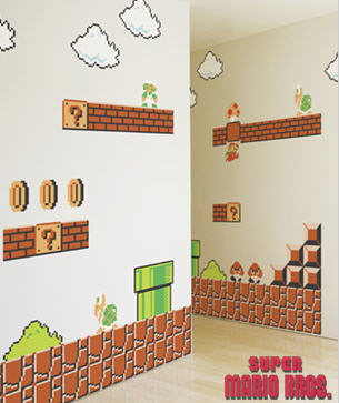 Nintendo Wall Decals turn your bedroom into the world of Super Mario Bros.